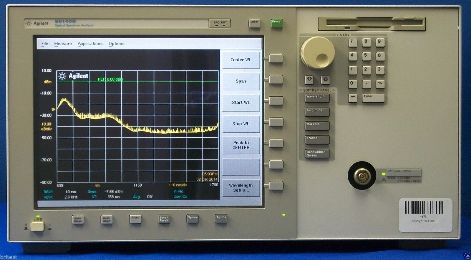 86140A - Keysight / Agilent Optical Spectrum Analyzers